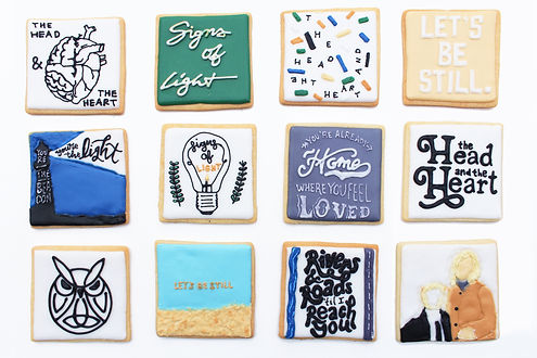 Custom decorated sugar cookies for The Head and The Heart of their album art, merchandise, and fan art