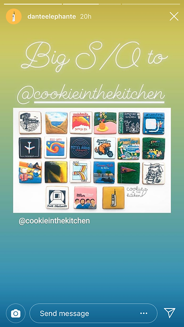 Dante Elephante shares on their Instagram story about their custom cookies from Cookie in the Kitchen