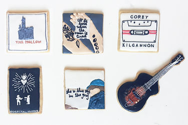 Custom decorated sugar cookies for Corey Kilgannon of his album art, merchandise, and fan art