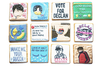 Custom decorated sugar cookies for Declan McKenna of his album art, merchandise, and fan art.