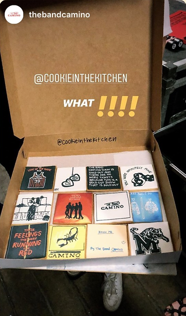 The Band Camino shares on their Instagram story about their custom cookies from Cookie in the Kitchen