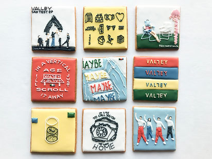 Custom decorated sugar cookies for the band Valley of their album art, merchandise, and fan art