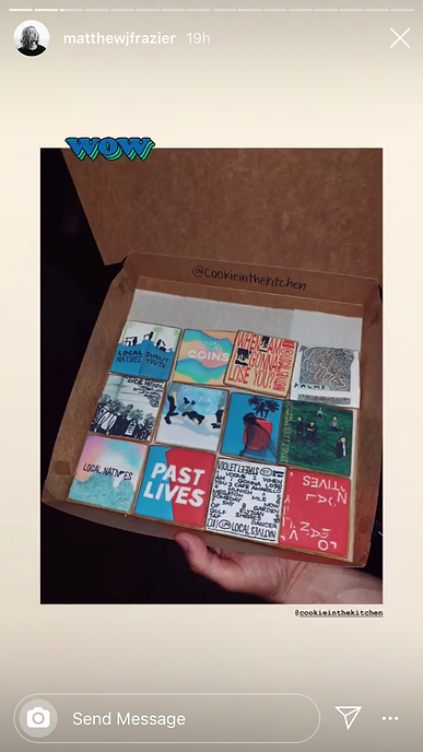 Matthew Frazier of Local Natives shares on his Instagram story about their custom cookies from Cookie in the Kitchen