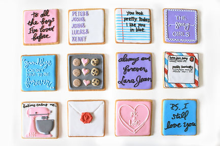 Custom decorated sugar cookies for Jenny Han of her book covers, quotes, and fan art from To All The Boys I've Loved Before