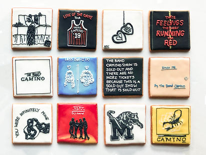 Custom decorated sugar cookies for The Band Camino of their album art, merchandise, and fan art