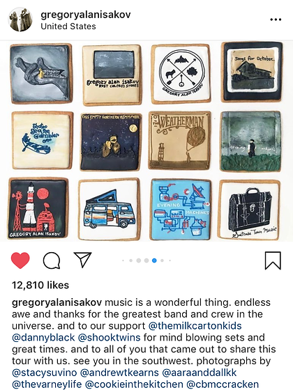 Gregory Alan Isakov posts on his Instagram about his custom cookies from Cookie in the Kitchen