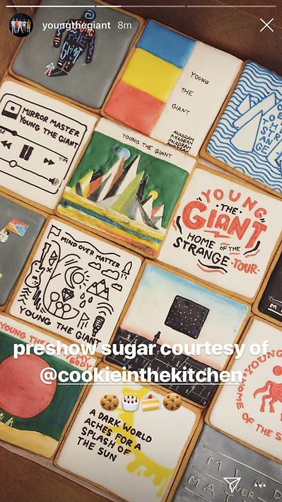 The band Young the Giant shares on their Instagram story about their custom cookies from Cookie in the Kitchen