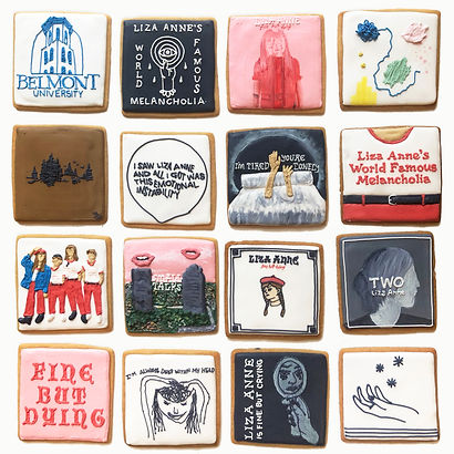 Custom decorated sugar cookies for Liza Anne of her album art, merchandise, and fan art