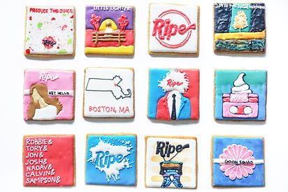 Custom decorated sugar cookies for the band Ripe of their album art, merchandise, and fan art