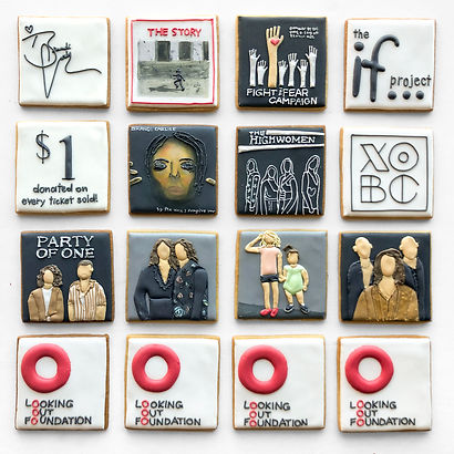 Custom decorated sugar cookies for Brandi Carlile and the Looking Out Foundation