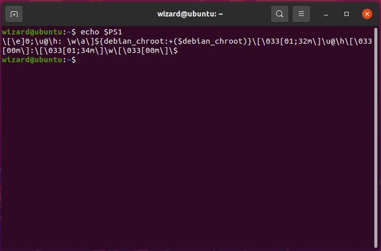 Displaying the $PS1 variable in Ubuntu