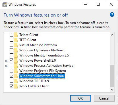 Enable the Windows Subsystem for Linux