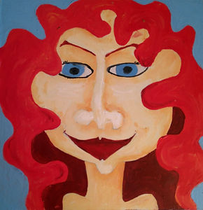Ava, acrilic, girl, red, art