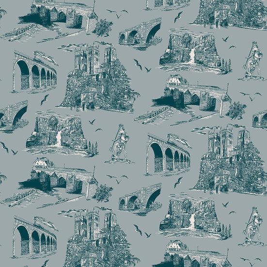 Durham Heritage-Teal-Shimmer Wallpaper