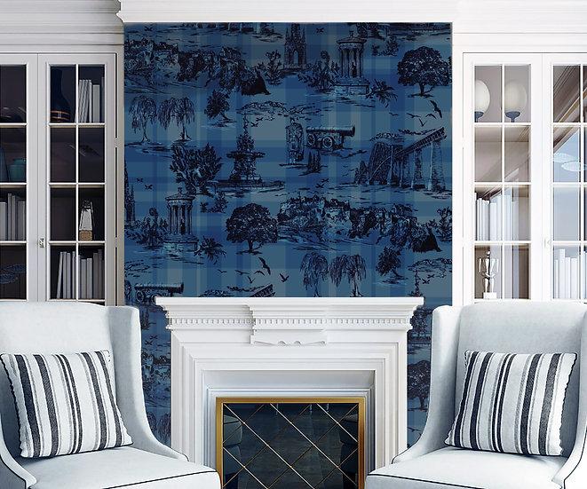Edinburgh Anthology- Navy Blue Classic Wallpaper