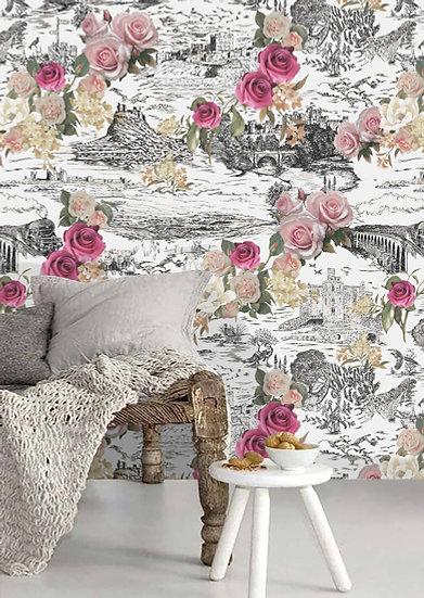 Beauty in The Hills-White Shimmer Wallpaper