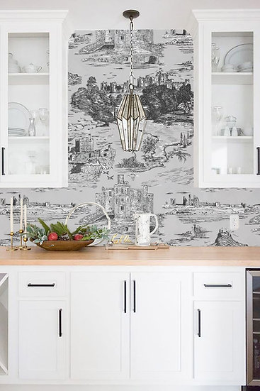 CASTLES and COASTS- Grey scale- Classic Finish wallpaper
