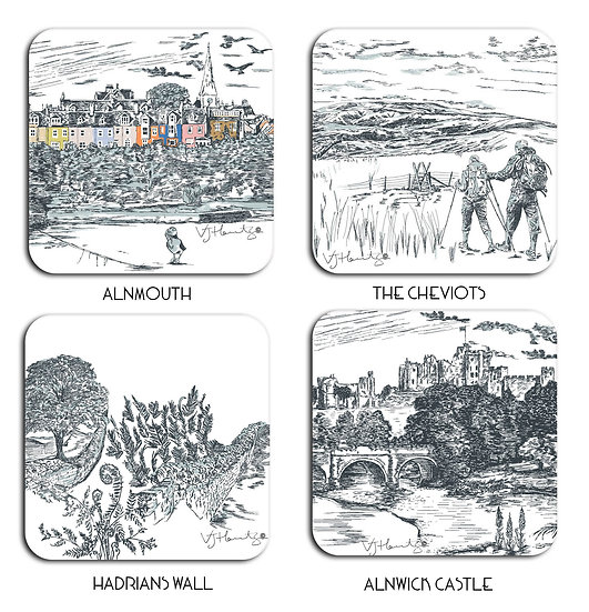 Northumberland Hand Crafted Coaster Set x4