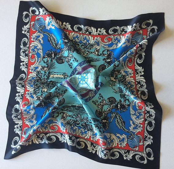 COASTAL PRINT Handmade Silk Scarf 62 x 62 cm NAVY