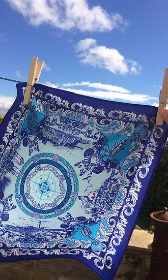 COASTAL PRINT Handmade Silk Scarf 62 x 62 cm BLUE