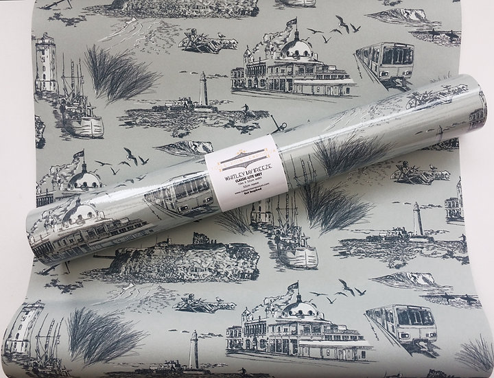 Whitley Bay Breeze -Grey Sky- Classic -Wallpaper