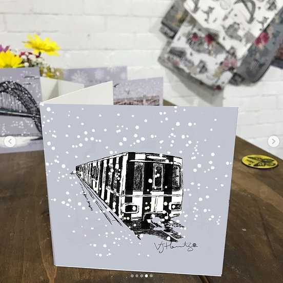 Tyne and wear black and white Metro Christmas card