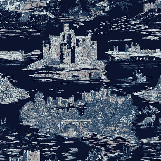 CASTLES and COASTS- Navy- Classic Finish wallpaper
