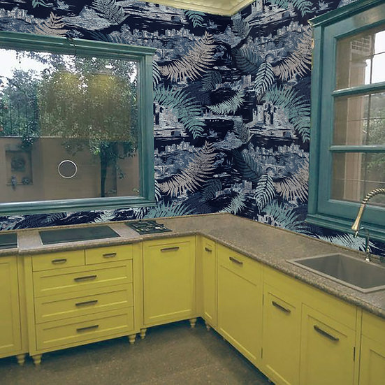 FERNS and CASTLES - Navy- Shimmer wallpaper