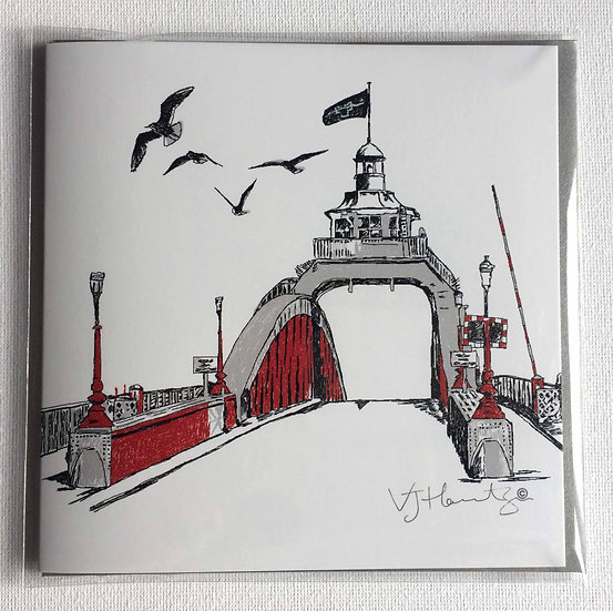 Swing Bridge Hand Drawn Square card