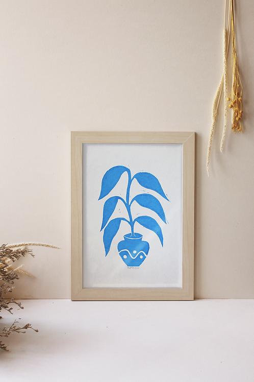 """a4 linogravé """"belle plante"""""""