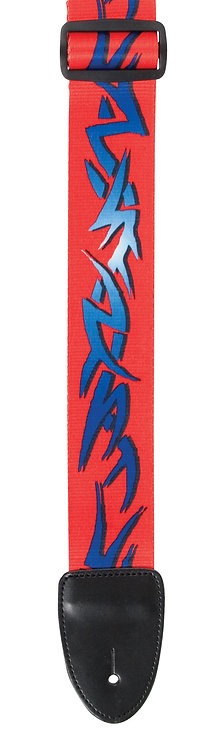 "GUITAR STRAP 2""POLY MATERIAL BLUE / RED TRIBAL"