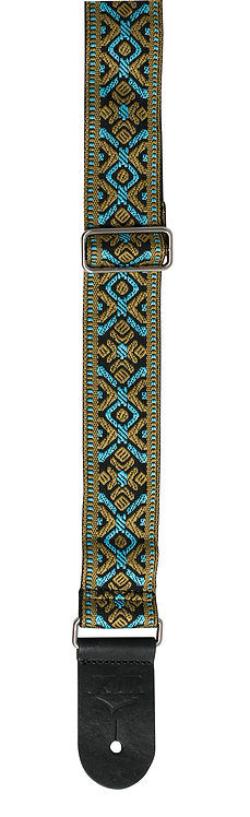 """GUITAR STRAP 2"""" DELUXE WOVEN BLUE/GOLD TAPESTRY"""