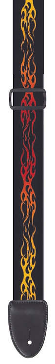"GUITAR STRAP 2""POLY MATERIAL RED & ORANGE FLAMES"