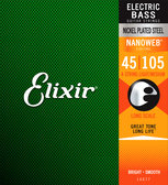 ELECTRIC BASS GUITAR STRINGS ELIXIR 45-105 NANOWEB