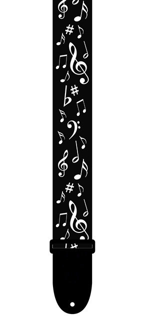 """Guitar Strap 2"""" Black & White Collection Music Notes by Perris"""