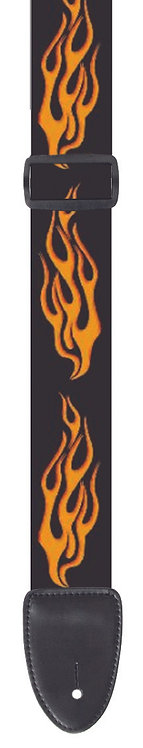 "GUITAR STRAP 2""POLY MATERIAL ORANGE FLAMES"