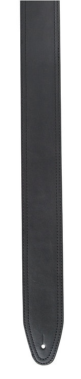 "GUITAR STRAP 2 1/2"" BLACK LEATHER"