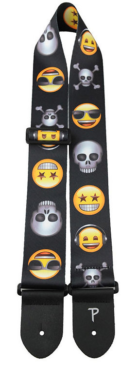 """GUITAR STRAP 2.5"""" Polyester """"Emoji Skulls And Friends"""" Licensed by Perri"""