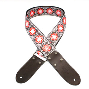 """GUITAR STRAP 2"""" JACQUARD WEAVE FLOWER-RED by DSL"""