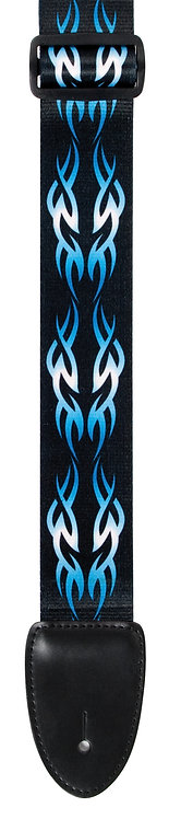"GUITAR STRAP 2""POLY MATERIAL BLUE / BLACK TRIBAL"