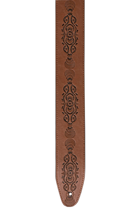 """GUITAR STRAP 2 1/2"""" BROWN LEATHER EMBOSSED"""