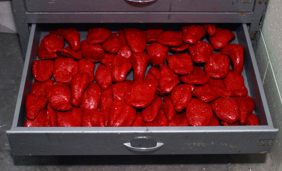 Colored tongue-shaped terra cottas in drawers, 2004