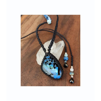 Custom design Rainbow Moonstone w. Kyanite, Selenite, Labrodorite, Spinel