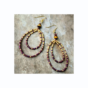 Glass seed beads, Tiger Eye earrings