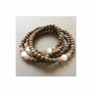 Selenite, Peach Moonstone, Greywood