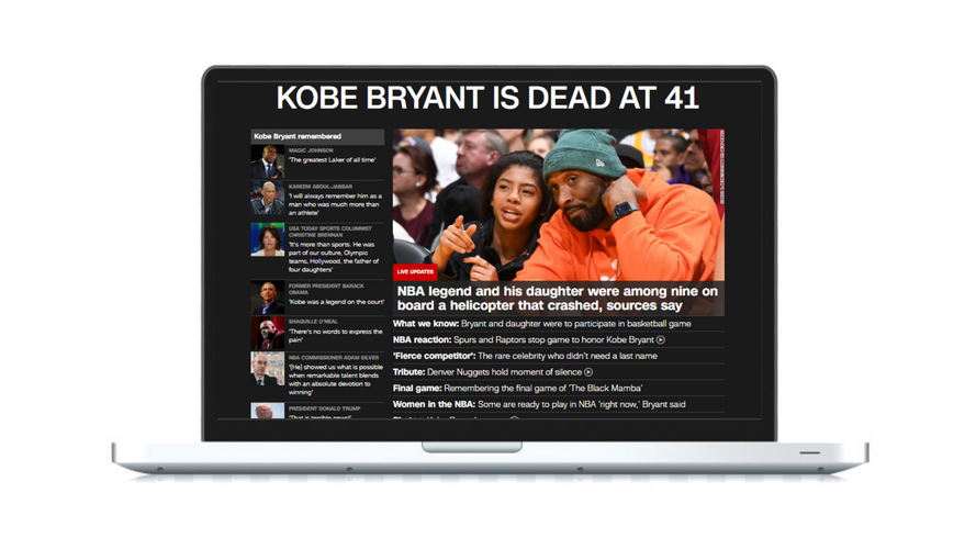 Led homepage design during the breaking news of Kobe Bryant's death
