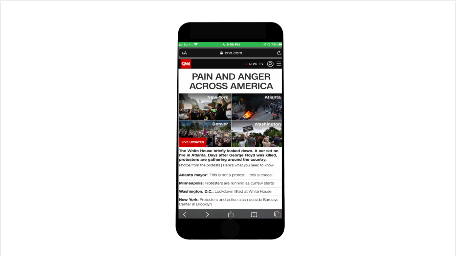 Led homepage and alert programming capturing CNN's live and breaking news coverage of the George Floyd protests across the US