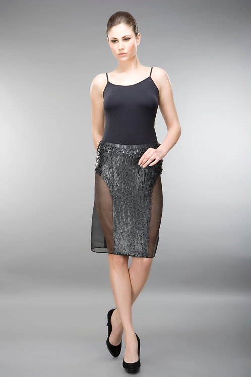 SKIRT WITH EMBELLISHED PANEL