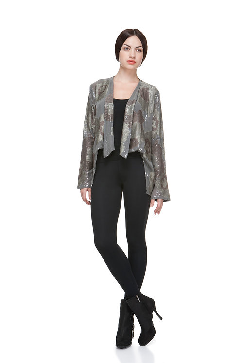 SEQUINNED GREY SILK JACKET