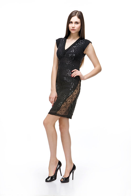 SEQUIN AND LACE HANDMADE DRESS